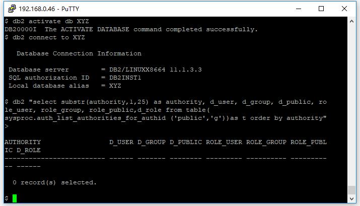 DB2檢查數據庫權限