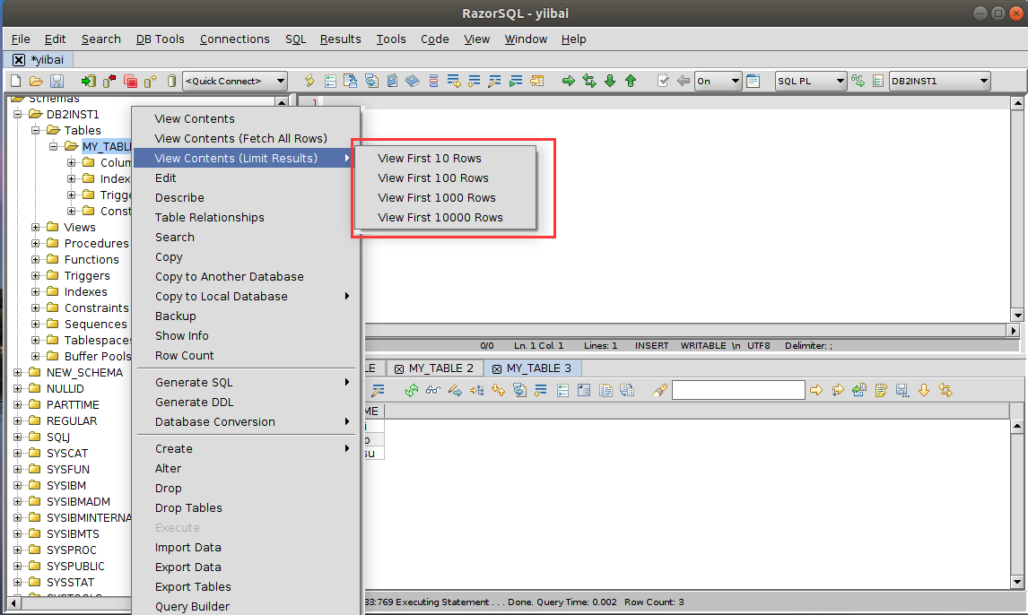 DB2 RazorSQL查看內容(限制結果)