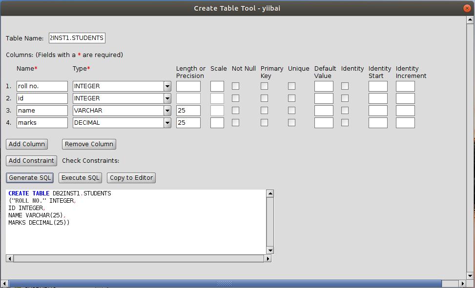 DB2 RazorSQL創建表