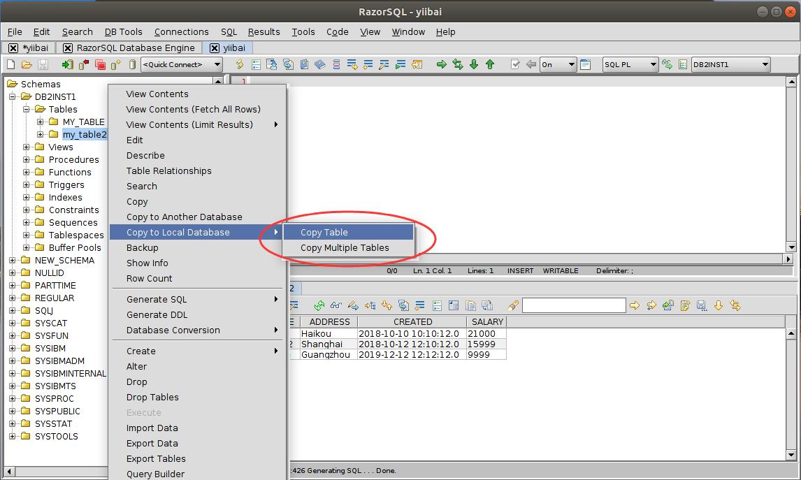 DB2 RazorSQL複製到本地數據庫