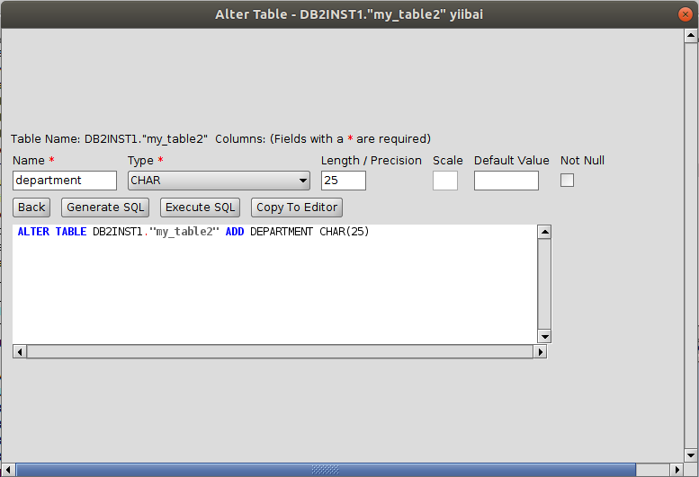 DB2 RazorSQL更改表結構
