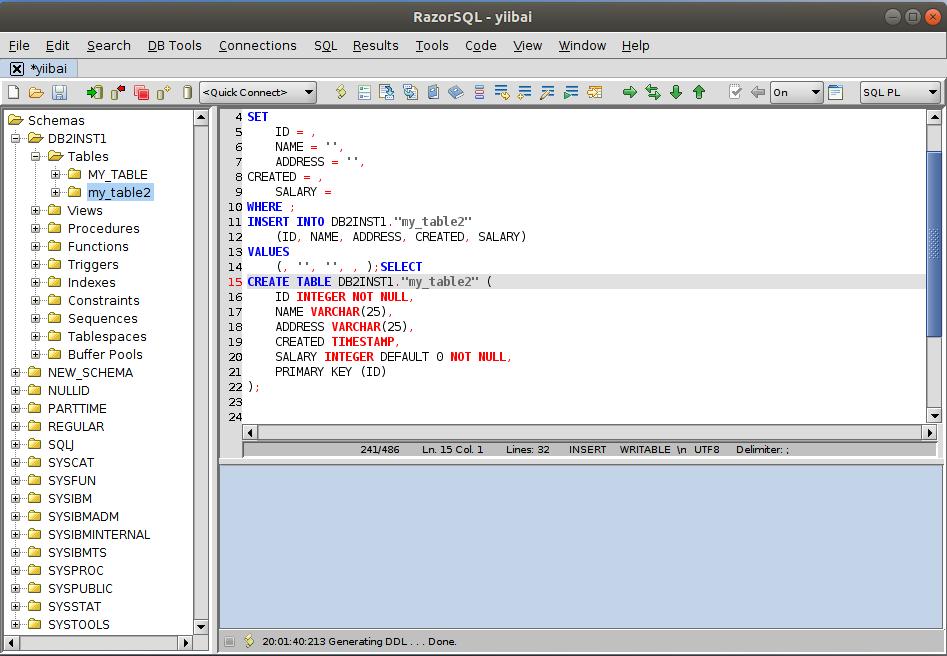 DB2 RazorSQL生成DDL