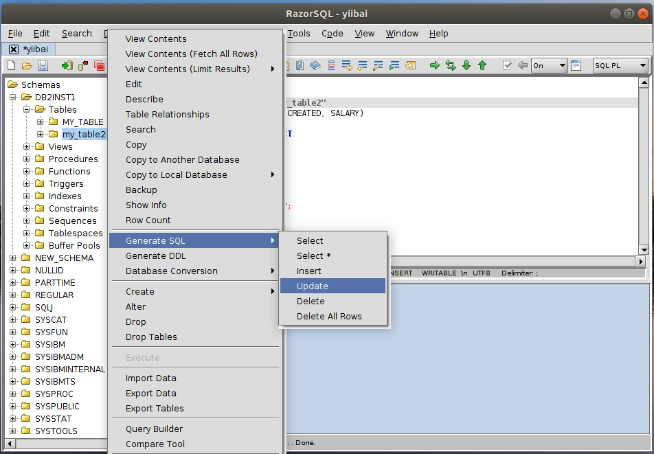 DB2 RazorSQL生成SQL