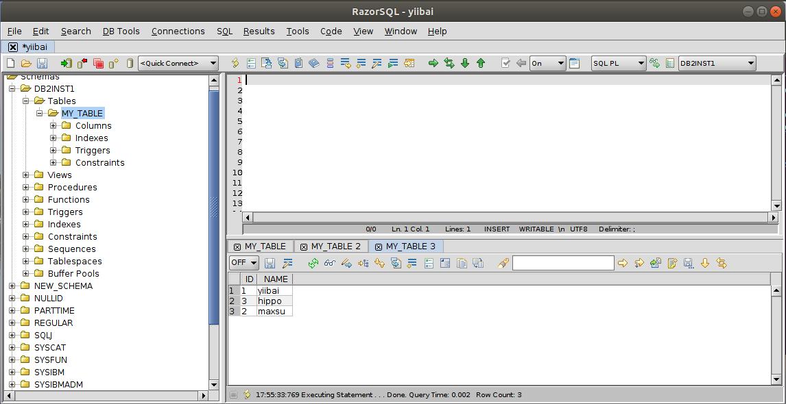 DB2 RazorSQL視圖