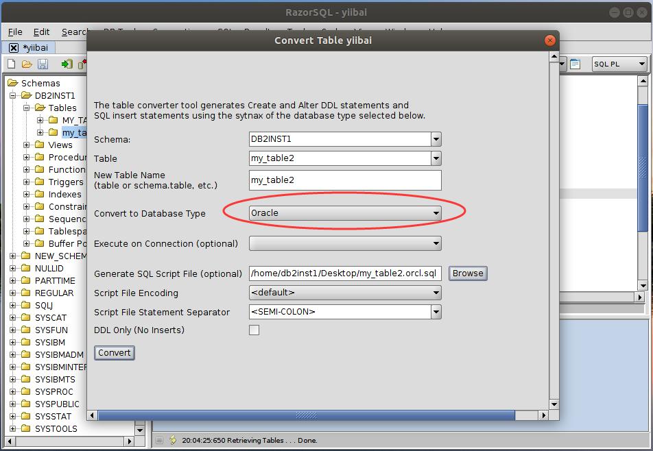 DB2 RazorSQL數據庫轉換