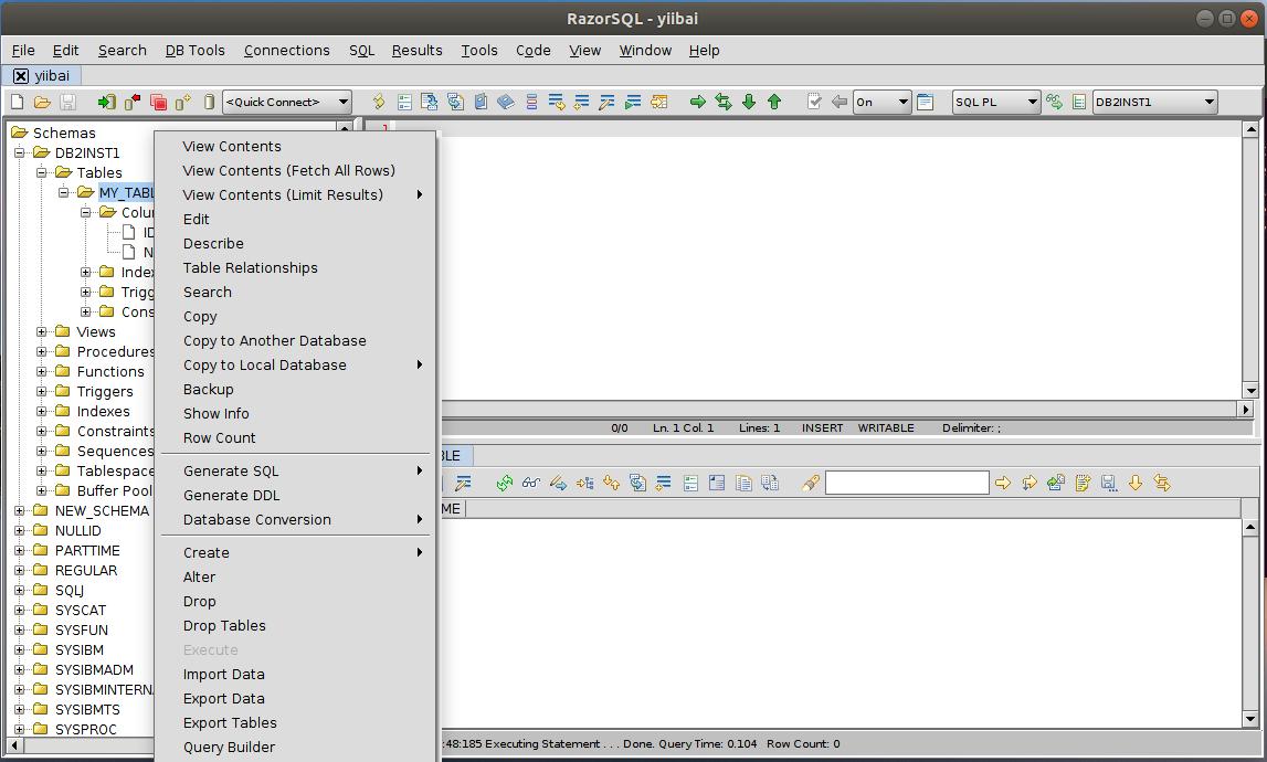 DB2 RazorSQL所有功能