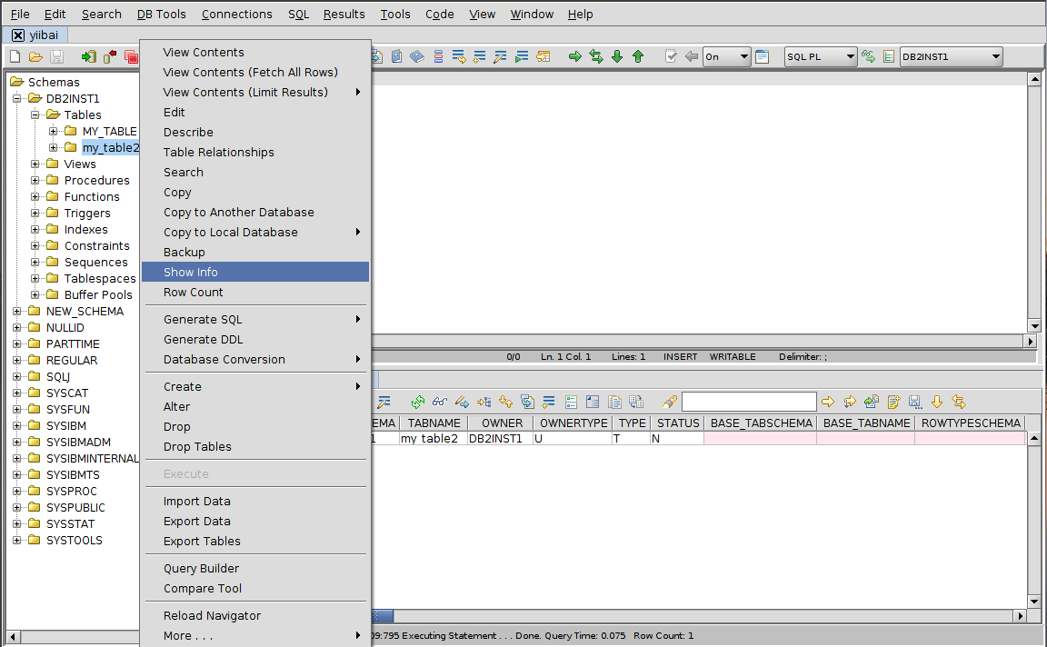 DB2 RazorSQL顯示信息