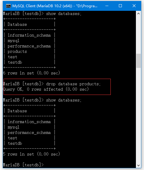 MariaDB刪除數據庫