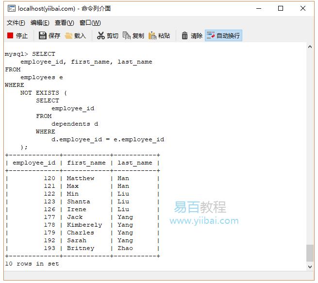 SQL Not運算符
