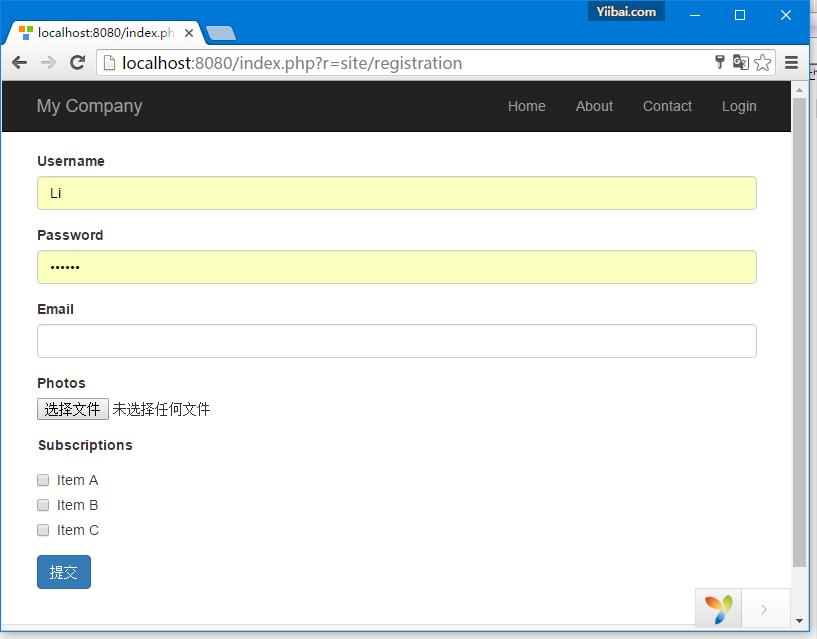 Yii HTML表單處理